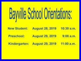 Bayville School Orientations
