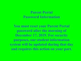 Parent Portal Password Reset