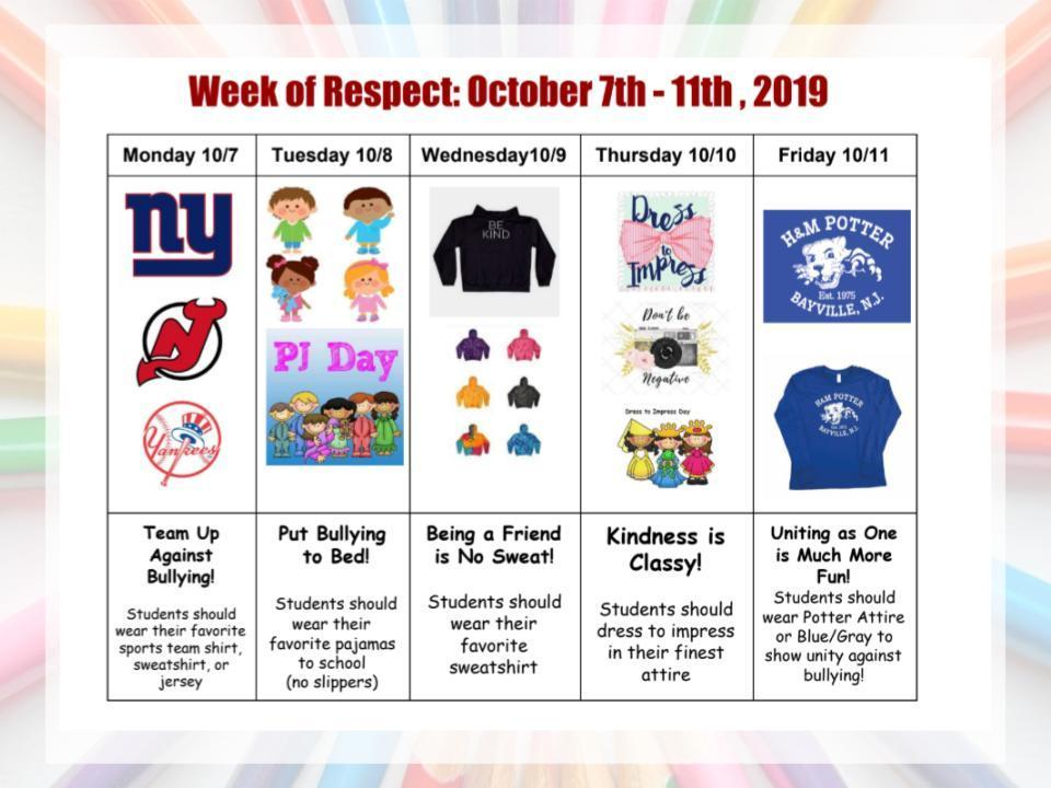 Week of Respect Spirit Days