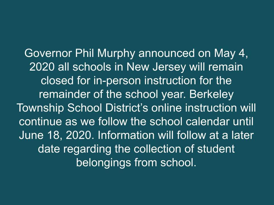 Schools Closed Remainder of the Year